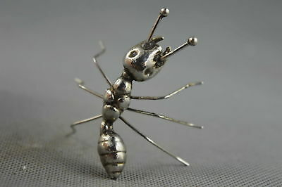 China Collectable Handwork Decor Old Miao Silver Carve Ants Auspicious Statue