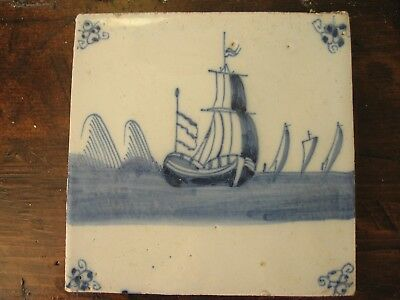 Antique delft tile blue and white ship at sea blue and white
