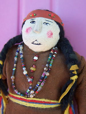 """Vintage 9""""1940's Paiute Indian Doll Made in Nevada Leather Buckskin Beads"""