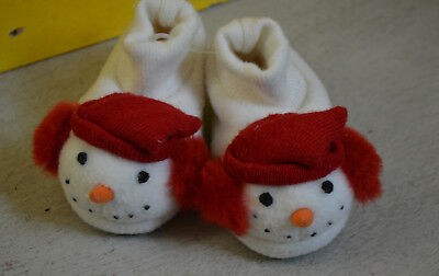 CUTE Baby Girl soft sole Xmas Booties SMOWMAN Size 0-6 Months