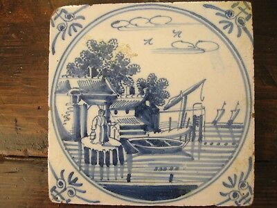 Antique delft tile blue and white canal scene eighteenth century