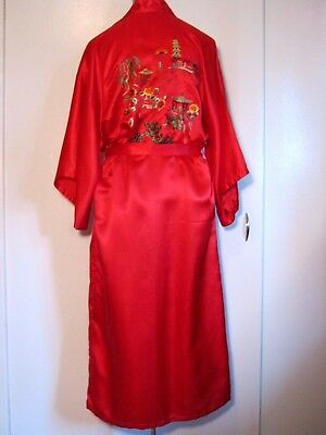 Vintage Dunhuang Hand Embroidered Pure Chinese Silk Red Robe Sm