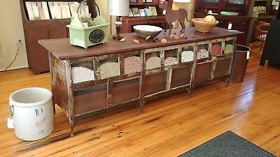 Vintage Industrial STEEL Seed Cabinet Hardware Store Counter Kitchen Island Wow!