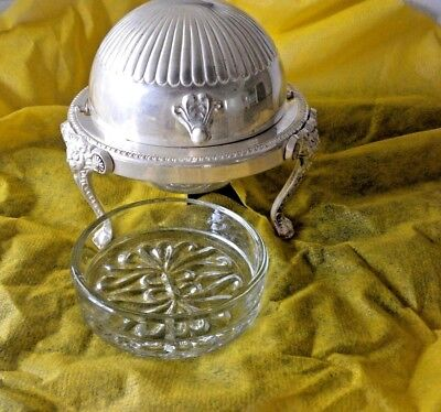 F.B. Rogers Silver Co Lion Footed Round Bowl Roll Top Domed Butter  Dish