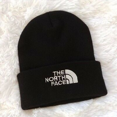 The North Face BeanieOne Size Black Logo Spellout Winter Fall Warm unisex NWOT