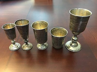 Lot Of 5 Antique Russian Imperial 84 Silver Kidush Cups 1890's