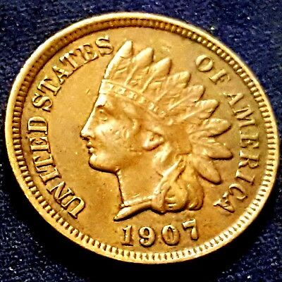 1907 Indian Head Cent! Better Grade! Full LIBERTY + Diamonds! Great Coin!