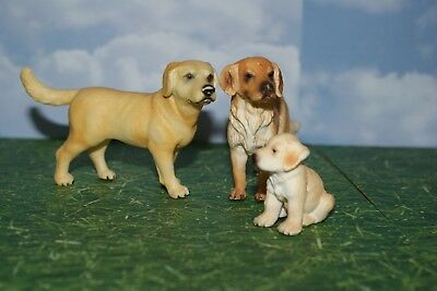 Labrador Adult Male, Female and Puppy by Schleich Animal Figure Set of 3