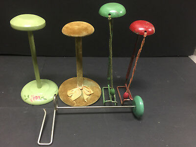 Vintage Hat Store Display Stands (x5) plus 2 Childrens Hangers
