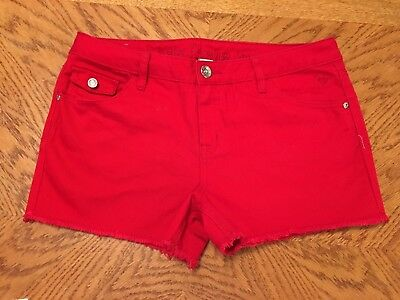 Justice Girl's Size 16 1/2 Red Denim Jean Short Shorts