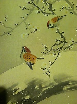 "50 Japanese Hanging Scroll Winter ""Sparrow on Snow Tree"""
