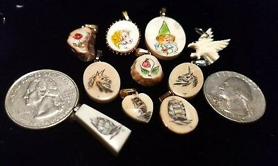 10 scrimshaw pendants horses, bird, ships, flower jewelry