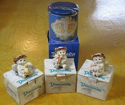 Lot of 3 Dreamsicles Angel Figurines w/ collector tin