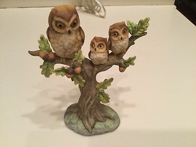 Owl Figurine 3 Owls Mother And Her Babies On A Tree Branch Ekesco Imports 88283