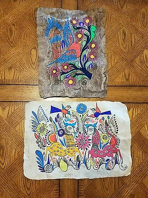 Lot of 2 Brightly painted Papyrus Aztec Mexican Mayan Artwork