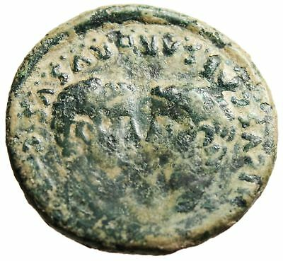 "Tiberius AE29 ""Busts of Germanicus & Drusus"" Spain Colonia Romula Very Nice"