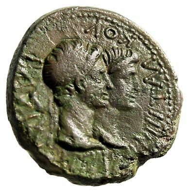 "Augustus & Rhoemetalkes I of Thrace ""Conjoined Bust With Queen Pythodoris"" gVF"