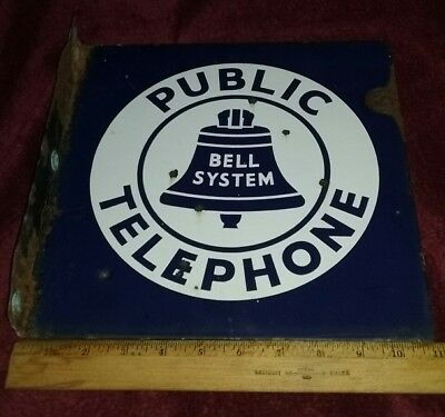 "Original Vintage Bell System Public Telephone Flanged Double-Sided Sign 11""×11"""