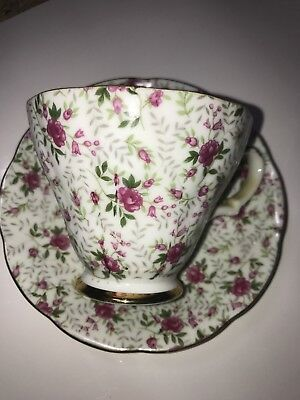 Beautiful Vintage Pink Roses Lefton China Hand Painted Tea Cup & Saucer Set 2119
