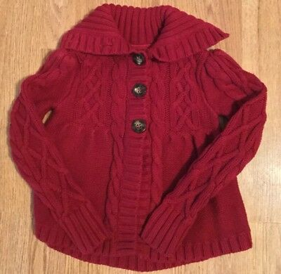 GAP Kids Girls Red Cable Knit Cardigan Sweater S 6-7 EXCELLENT CONDITION