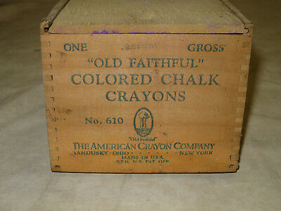 Antique American Crayon Company Wood Dovetail Chalk Box Old Faithful No. 610