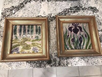 Two frames Antique Tile Pilkington England pink stone on princess pine leaves