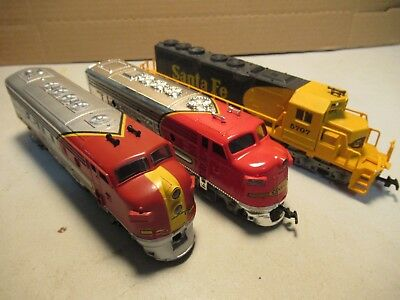HO Scale Train Engines Untested Lot of 3 Santa Fe Locomotives Model Railroad