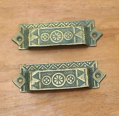 "3.77"" 2 pcs Vintage Art Deco Retro Bar Bin Pull Solid Brass Cabinet Bin Pulls"