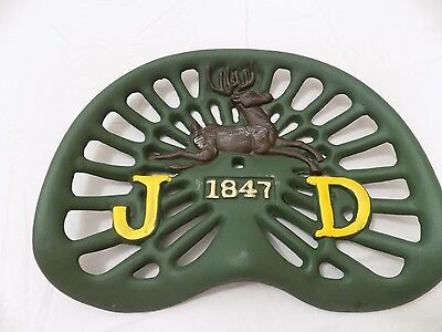 "Cast Iron JD Tractor Seat Farm Bar Stool Kitchen Cowboy Green Farmer 12""x 17"""