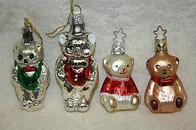 Lot/4 Old World Christmas Handblown Glass Bear Ornament Germany XLNT in Boxes