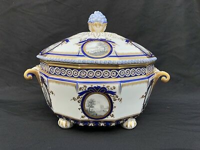 Rare Mint Antique Nymphenburg Porcelain Pearl King's Service Tureen Grisaille