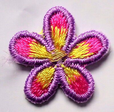 Lucky Rainbow ROYGBV Hippy Green 6 Six Petal Flower Embroidery Applique Patch