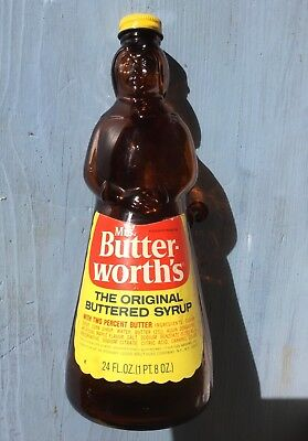 Mrs. Butterworth Brown Glass Syrup Bottle w/ Metal Cap & Label