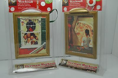 CHRISTMAS ORNAMENTS SET ( Norman Rockwell Paintings ) light up w/ Easel Lot of 2