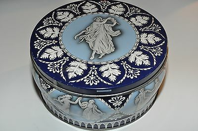 vintage, dancing ladies, women blue white enamel tin metal container decorative