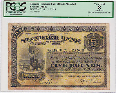 Southern Rhodesia, Standard Bank of South Africa Pick S138, 5 Pounds 1913 PCGS 8