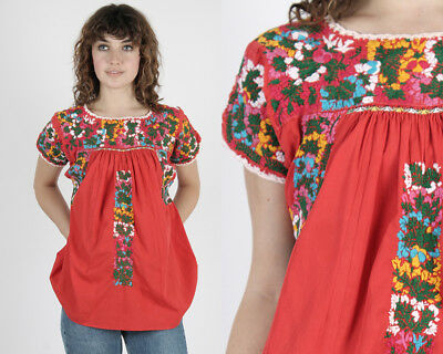 Vintage 70s Oaxacan Tunic Red Bright Floral Mexican Embroidered Boho Hippie Top