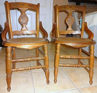 Antique Set Eastlake Walnut Victorian Side Chairs Caned Seat w Burl Wood Inlay