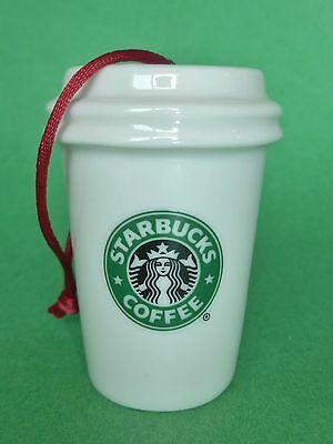 Starbucks Ornament Christmas Holiday 2007 White With Mermaid Logo To Go Cup