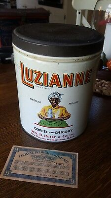 Antique 1928 Luzianne Coffee Chicory Tin 3Lbs Vntg Black Americana New Orleans