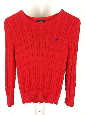 Polo Ralph Lauren Boys Sweater Cableknit Long Sleeve Size Small (8) Red Warm