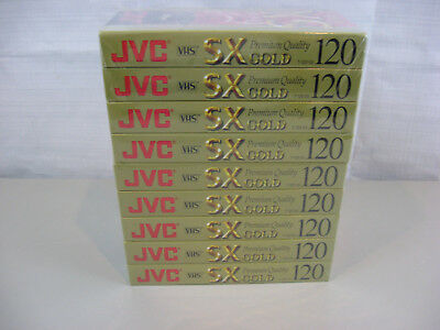 Lot of 9 JVC VHS T-120 SX Gold Premium Quality Tapes-New & Sealed