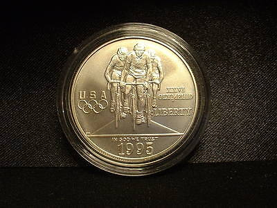 1995-D $1 Silver U.s. Xxv1 Olympic Cycling Uncirculated Coin! Original!!