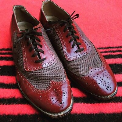 Beautiful Vintage 1940s Club Room Leather, Mesh Spectator Wing Tip Shoes 9-10