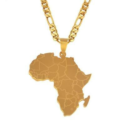 Gold Deluxe Africa Map Pendant Necklace Chain Stainless Steel