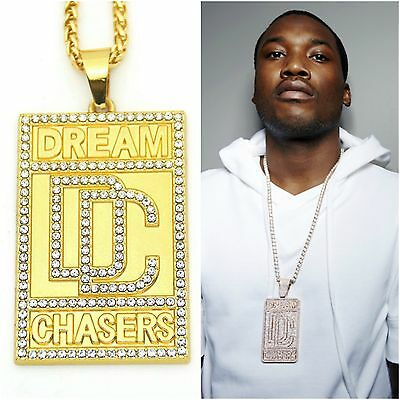 Meek Mill Dream Chasers DC Chain Necklace Hip Hop Jewellery Gangster Bling Ice
