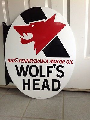 Vintage 1973 Wolf's Head Oil Sign Double Sided With Flange
