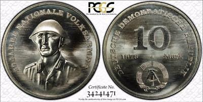 East Germany 1976-A 10 Mark, 20th Anniversary of the People's Army, PCGS MS67