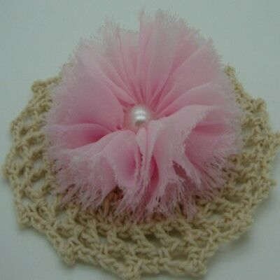 Light Pink Chiffon Flower with Pearl Centre x 1 RNB