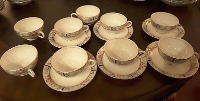 9 cups 6 saucers Antique Edwin M. Knowles Vitreous China Co. Gold trimmed